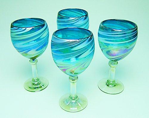 Wine Glasses Hand Blown Glass Turquoise & White Iridescent Swirl, 12 oz Set of 4