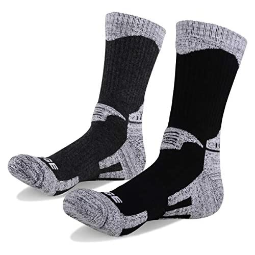 YUEDGE Men's 2 Pairs Wicking Cushion Cotton Crew Socks Outdoor Sports Performance Hiking Socks(XL)