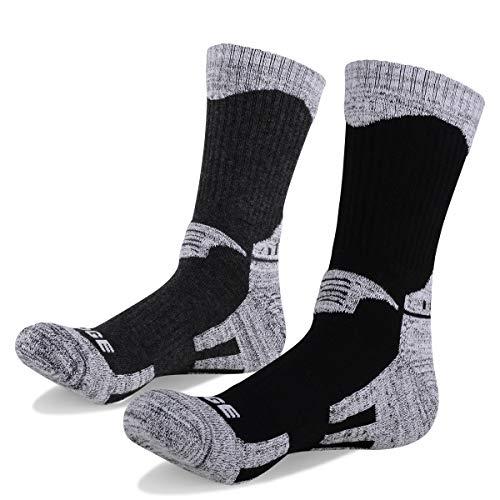 YUEDGE Mens 2 Pairs Multi Performance Outdoor Sports Hiking Trekking Running Wicking Cushion Cotton Crew Socks(Assortment Black Gray L)