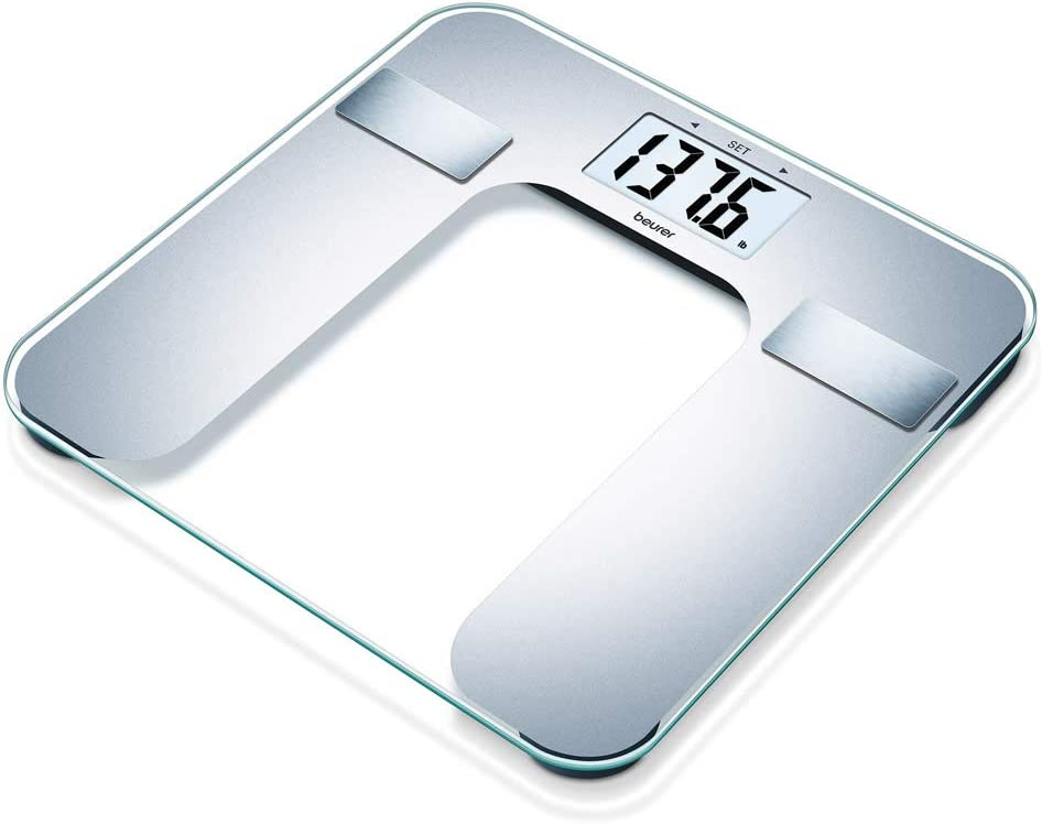 Beurer Body Fat Analyzer Scale BMI, Multi-User & Recognition, Digital Bathroom Weight Scale, XL Display, BF130, Silver