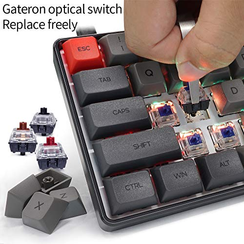 YUNZII SK61S Black Wireless 60% Keys NKRO Gateron Optical Switch RGB Backlight Programmable Mechanical Gaming Keyboard (Gateron Optical Brown, Black 61 Keys)