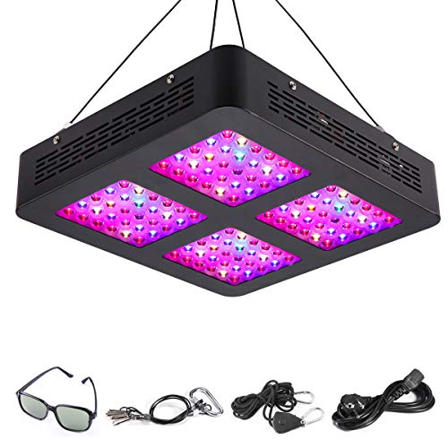 HKUU 600W LED Plant Grow Light with UL Certified Reflector, Full Spectrum Growing Lamp for Hydroponic Indoor Plants Veg and Flower with Daisy Chain Triple-Chips and Goggle