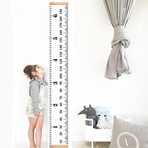 Infant Baby Height Growth Chart Roll Up Hanging Wood Frame Height Measurement Rulers Kids Room Wall Decoration 79''x7.9''
