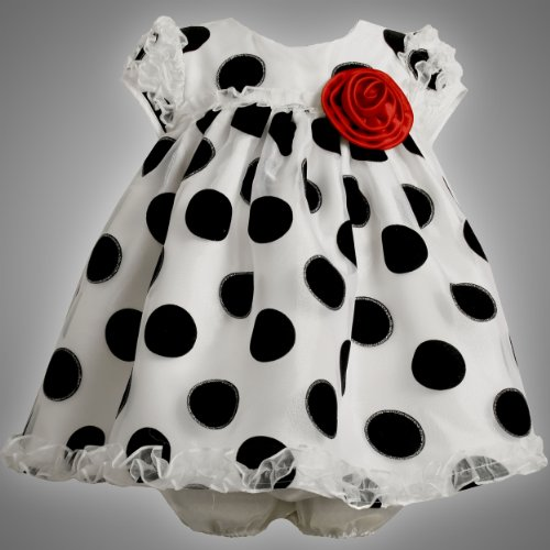 Bonnie Jean Baby/INFANT 12M-24M 2-Piece BLACK WHITE GLITTERED FLOCK DOT RUFFLE ORGANZA Special Occasion Wedding Flower Girl Party Dress