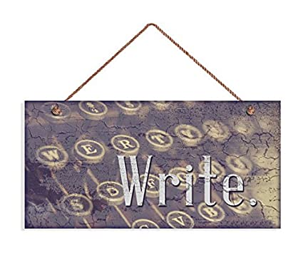 Augus Church Letrero de escritura, decoración rústica, regalo para escritor, letrero de autor