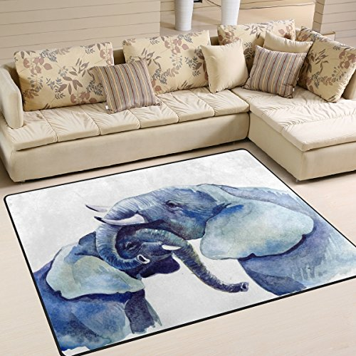 Naanle Animal Elephants Area Rug 5'x7', Hugging Elephants Watercolor Polyester Area Rug Mat for Living Dining Dorm Room Bedroom Home Decorative