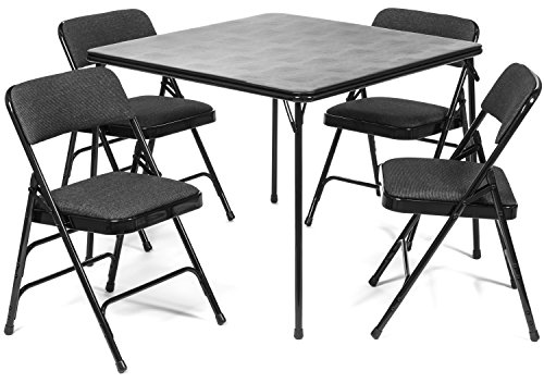 (XL Series Folding Card Table and Fabric Padded Chair Set (5pc) - Comfortable Padded Upholstery - Fold Away Design, Quick Storage and Portability - Premium Quality (Black))