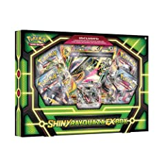 A Darker Shade of Rayquaza-EX! Bend light and shift colors with one of the rarest of Pokémon sights: a Shiny Legendary Pokémon! The Pokémon TCG: Shiny Rayquaza-EX Box includes a never-before-seen foil card featuring Shiny Rayquaza-EX, plus a ...