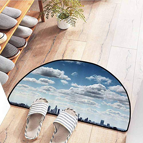 SEMZUXCVO Interesting Doormat Apartment Decor Collection Downtown Los Angeles Skyline Under Summer Sky with Scenic Fluffy Clouds Picture Breathability W24 x L16 Blue White Gray