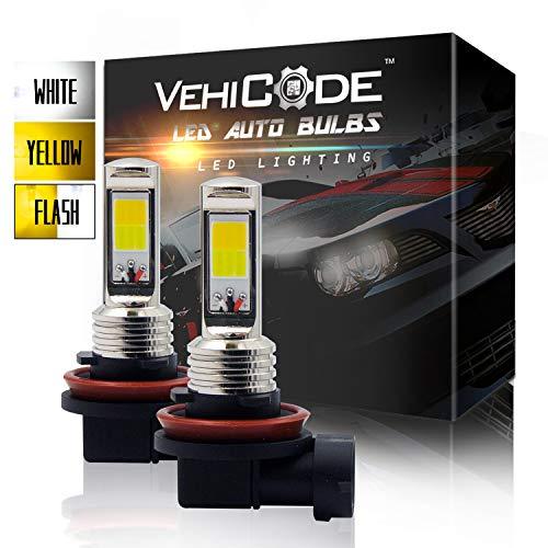 VehiCode 3-Ways H11 H9 H8 H16 Type 2 LED Fog Light Bulb Conversion Kit - Dual Color (6000K White/ 3000K Yellow) Slim Fanless Switchback and Flash Strobe for Emergency Warning Hazard Caution (2 Pack)