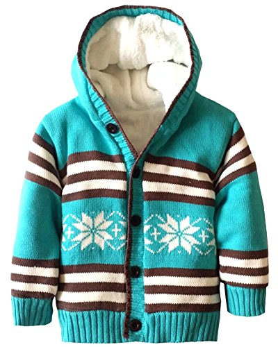 Baby Cardigan Snowflake (Infant Boys Girls Cotton Knitted Plush Fleece Lined Hooded Sweater Baby Button Down Snowflake Sherpa Sweater Coat, Blue, Age 2T-3T ( 2-3 Years ) = Tag 4A)