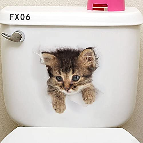 Wall Sticker Cartoon Toilet Decal 3D Cat Bathroom Seat Cover Home Stickers Decor