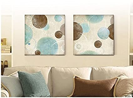Light blue beige and brown circles modern abstract oil painting canvas wall art decorative artist & Amazon.com: Light blue beige and brown circles modern abstract oil ...