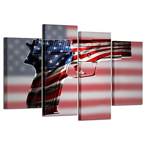 Kreative Arts - 4 Piece Gun American Flag Military Canvas Print Independence Day Home Decor Wall Art Pictures for Living Room Multi Panel Large Poster Painting Framed Ready to Hang L47xH32inch