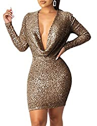 Off Shoulder Coffee Colour Sequin Dress Deep V Neck & Long Sleeve