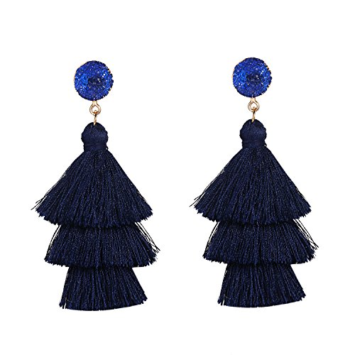 Navy Blue Multi layered Tassel Earrings Bohemian Dangle Drop Tiered Tassel Resin Stud Earrings Natural Stone Gifts for Women and Girls