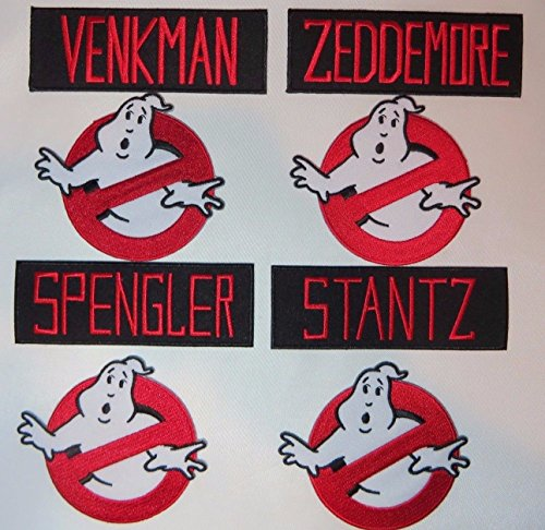 GHOSTBUSTERS Names and No Ghost Logos Set of 8 Embroidered PATCHES ()