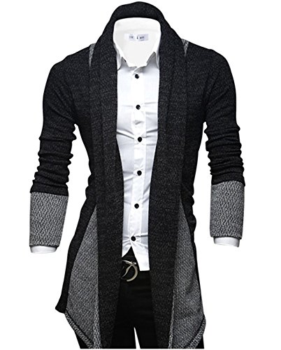 Tom's Ware Mens Classic Fashion Marled Open-Front Shawl Collar Cardigan TWGG1308-BLACK-US S (Steampunk Clothing Men)