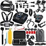 SmilePowo 48-in-1 Accessories Kit for GoPro Hero 7 6 5 4 3/3+ 2 1 GoPro 2018 Session/Fusion Black Silver DBPOWER AKASO APEMAN YI Campark SJCAM XIAOYI2 Sony Sports DV Action Camera