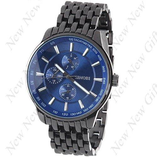 New ArrivAL ~ (SINOBI) Stainless Steel Wrist Quartz Watch Timepiece with Decorative Sub-Dials for Man Male (Timepiece Steel)