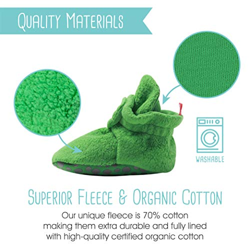 Zutano Cotton Baby Booties with Gripper Soles, Soft Sole Stay-On Baby Shoes, Apple, 12M