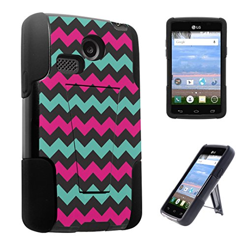 DuroCase ® LG Sunrise L15G / LG Lucky L16C (Released in 2015) Kickstand Bumper Case - (Mint Pink Chevron)