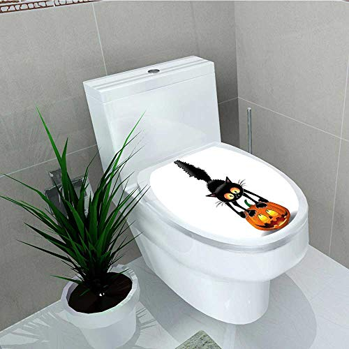 Analisa A. Houk Toilet Seat Wall Stickers Paper Black Cat on Pumpkin Head Spooky Characters Halloween Themed Decals DIY Decoration W11 x -