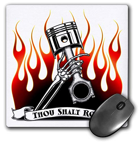 (3dRose Mark Grace HOT RODS - Live to Rod - Thou Shalt Rod Banner with a Skeleton arm Grasping a Rod and Piston - Mousepad (mp_243288_1))
