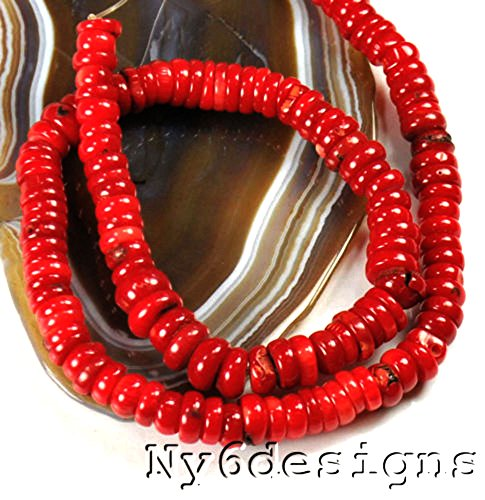 8x4mm Red Sea Bamboo Coral Heishe Beads 15