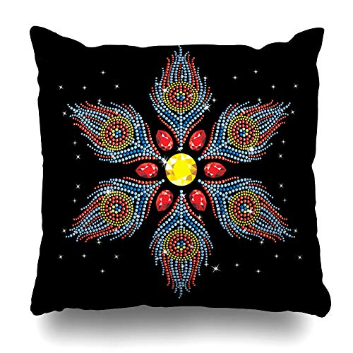 ArTmall Throw Pillow Case Stone Rhinestone Applique Hotfix Transfer for Hot Fix Style Neck Line Graphics Abstract Rhinestones Zippered Pillowcase Square Size 18 x 18 Inches Home Decor Cushion -