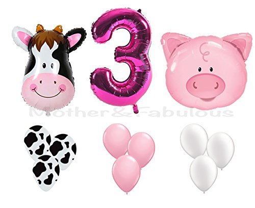 3rd BIRTHDAY cow and pig baby girl party decoration with 12 ct pink balloons and 12 ct cow balloons and 12 ct white balloons and number