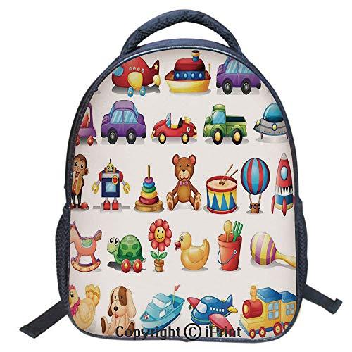 Double Strap Multipurpose Backpack,Polyester Fiber,Large Capacity,3D Backpack for Laptop,16 inch,Cartoon Toys Print Drum Rocking Horse Plane Robot Carsken Teddy Bear Art Pattern