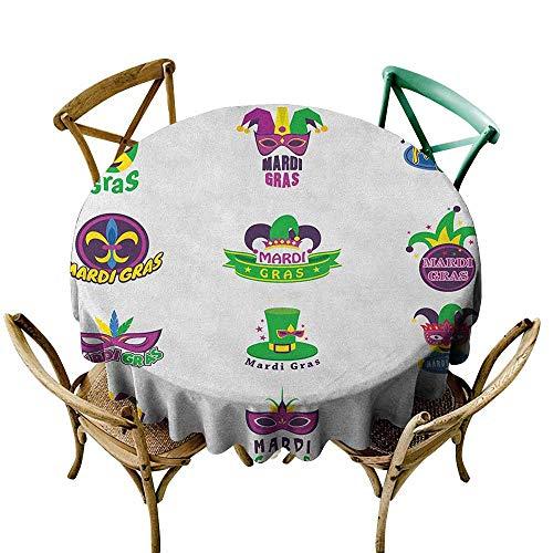StarsART Decor Collection Table ClothsMardi Gras,Set of Carnival Masks Hats and Fleur De Lis Symbols Colorful Joyous Collection, Multicolor D65,Table Cloth Home Decoration