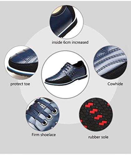 Cm zapatos azul De Negro aumentar Cordones marrón 6 Azul Cuero Con Ocasionales Speedeve Hombre Planos Zapatos O8xz8f