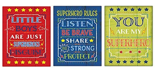 King65irginia Home Décor Fun Colorful Popular Superhero Rules, Little Boys are Just Superhero's in Disguise, and You are My Superhero Poster Set, Three 8x10 inches Unframed Canvas. ()
