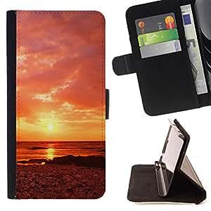 BullDog Case - FOR/Samsung Galaxy Note 3 III / - / Sunset Beautiful Nature 63 /- Monedero de cuero de la PU Llevar cubierta de la caja con el ID Credit Card Slots Flip funda de cuer