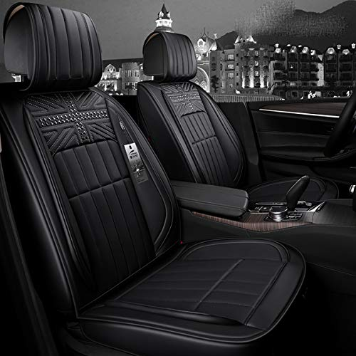 INCH EMPIRE Easy to Clean PU Leather Car Seat Cushions 5 Seats Full Set - Rivet Decorated Universal Fit Cover Anti-Slip Suede Backing Adjustable Bench for 95% Types of Cars(Rivet Black) ()