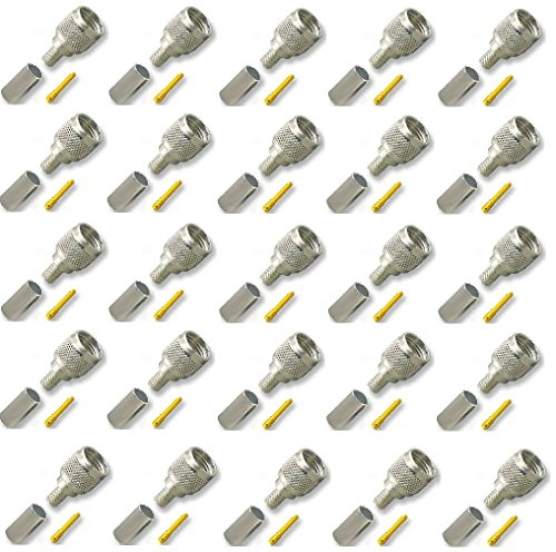 25 pcs of Crimps Connectors Mini-UHF Male 3-piece for RG-58/U Cable for Motorola Radios, Tram 1300