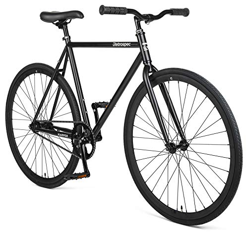Retrospec Harper Single-Speed Fixie Style Urban Commuter Bike with Coaster Brake, Matte Black 57cm, L