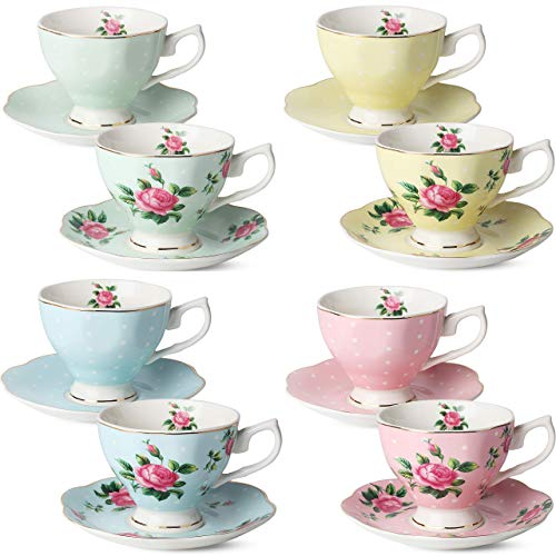 BTäT- Floral Tea Cups and Saucers, Set of 8 (8 oz) Multi-color with Gold Trim and Gift Box, Coffee Cups, Floral Tea Cup Set, British Tea Cups, Porcelain Tea Set, Tea Sets for Women, Latte Cups