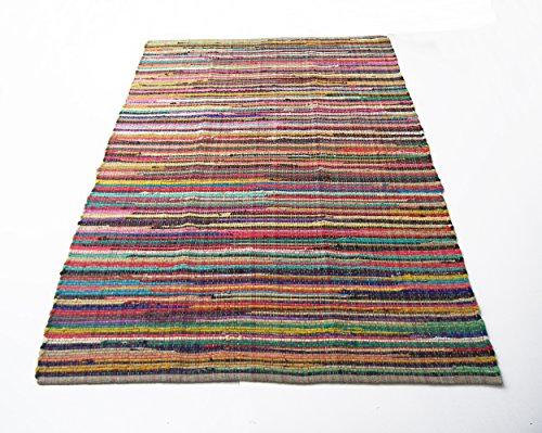 Eco friendly 100 recycled cotton colorful chindi area rug – 8 X10