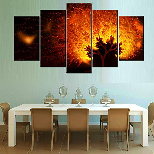 qingyuge 5 Panels Canvas Wall Art 5 Pieces Wall Art Picture Hd-Beautiful-Glitter-Flower for Living Room Printed On Canvas Frameless