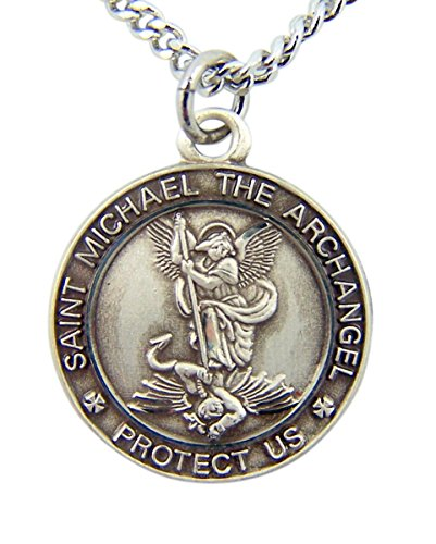 Sterling Silver Saint Michael the Archangel Protect Us Round Medal Pendant, 3/4 Inch ()