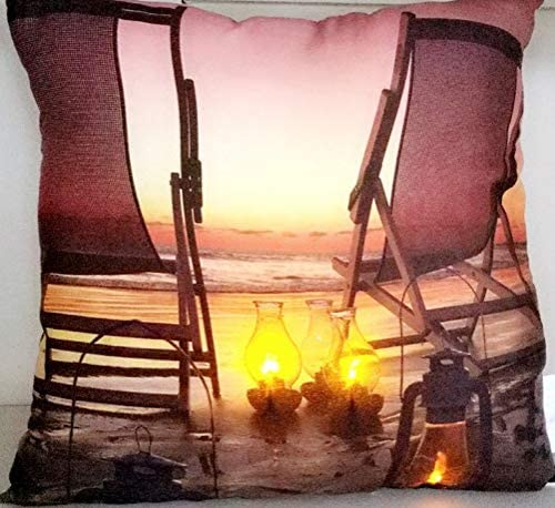 Northlight LED Lighted Sunset Beach Relaxation with Lanterns Pillow 17 X17