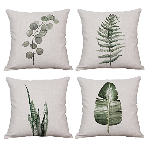 YeeJu Set of 4 Throw Pillow Covers Decorative Green Fern Leaf Cushion Covers Square Cotton Linen Outdoor Couch Sofa Home Pillow Covers 16x16 Inch