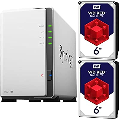 Synology DS218J 2-Bay DiskStation NAS Bundle Assembled and Tested with 12TB (2 x 6TB) of Western Digital Red NAS Drives by CustomTechSales