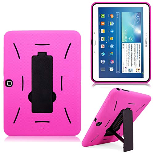 Cellularvilla Case for Samsung Galaxy Tab 3 10.1 inch Tablet P5200 P5210 Pink Black Hard Soft Hybrid Armor Heavy Duty Rugged Shell Protective Case Cover with Built in Kickstand
