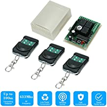 KKmoon 433Mhz DC 12V 4CH Universal 10A Relay Wireless Remote Control Switch Receiver Module and 3PCS 4 Key RF 433 Mhz Transmitter Remote Controls 1527 Chip Smart Home Automation