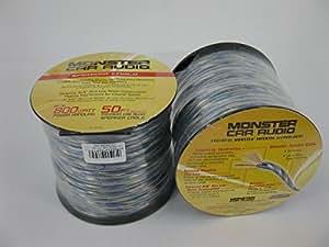 Monster Speaker Wire XLN 16 Gauge (50 Ft Spool, Blue & Silver)