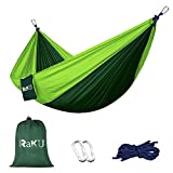 Raku Camping Hammock: 1. If for any reason you are not 100% satisfied with this product, don't hesitate to contact us. 2. QUALITY PARACHUTE MATERIAL-Made with Super Strong 210T parachute nylon fabric -Soft Breathable Fabric supports up to 400lbs.3. L...